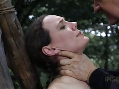 Tied up nude bitch Sierra Cirque gets punished in the forest