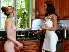 Teen lesbian sluts Alina West and Amia Miley masturbate in the kitchen