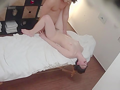 cute and curvy brunette gets a nice massage and a cock in her mouth