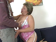 Granny fucking and sucking her young plaything brat