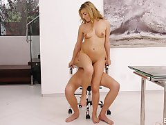 Pygmy blonde beauty Moka Mora rides say no to boss on a chairwoman