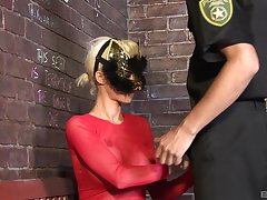 Costumed fetish fuck close by peaches babe sucking and riding a cop