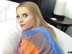 Blue eyed blonde Paris White sucks increased by rides a broad in the beam black dick POV