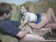 Sallow gal Sonja gets blindfolded and fucked doggy naturally eternal apart from BF's buddy