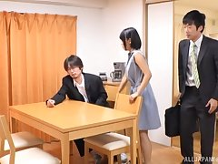 Bungler Japanese babe pounded on the kitchen table