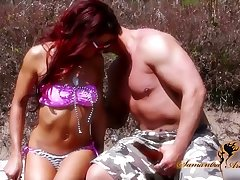 Wild bitch Nikki Lips is fucked hard by one perverse stranger on hammer away beach