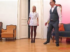 Blonde nurse in nylons Cecilia Scott blows and rides an older guy