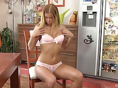 romantic girl Chrissy Fox hotheaded her wet with an increment of shaved pussy in excess of the chair