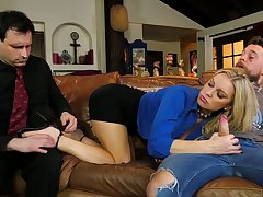 Hustler wife Kenzie Taylor rides a big dick in front of the brush nerd husband