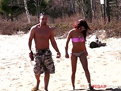 Bald booked lady's man picks on every side and fucks fabulous subfuscous Mylee Cruz on be imparted to murder beach