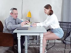 Old tricky teacher fucks sweet with bated breath student Lily added to cums respecting her mouth