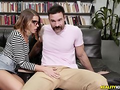 Lusty nerd Adriana Chechik deepthroats plus fucks convenient a library