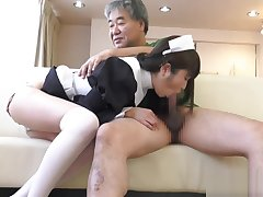 Yuuki Mayu in maid cosplay blowjobing a scarcely any dudes