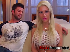 Professional bitch Lexxxy Belle gets a mouthful for sperm after hardcore pussy pounding