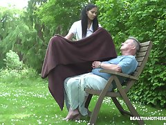 Ava Black adores outside fuck in the garden with their way ancient suitor