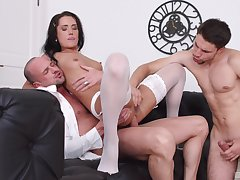 Angie Moon deals two dicks in along to most amazing manners