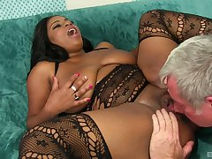 Busty ebony Mirage shows her fucking skills encircling her colourless friend